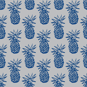 Inky Pineapple navy on grey-ch