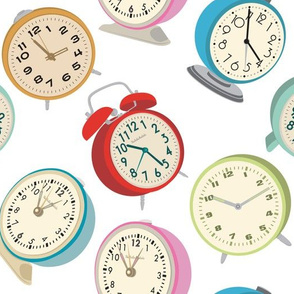 Retro Clock Fabric Design- White Background
