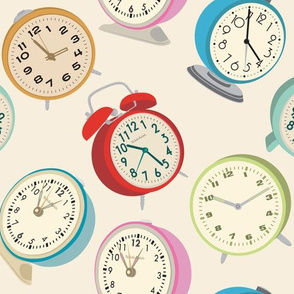 Retro Clock Fabric Design Cream Background