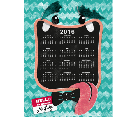 Mr Licky 2016 Calendar Tea Towel