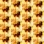Lions on Quilt Gold