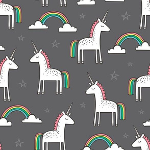 Cute Unicorn Rainbow on Dark Grey