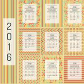 2016 tea towel calendar in retro colors