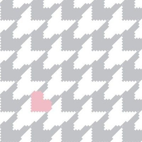 Houndstooth with Hearts Large - Gray/White/Pink
