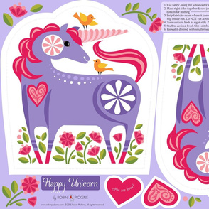 Happy Unicorn Pillow_Purple1