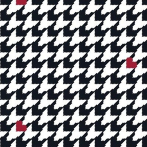 Houndstooth with Hearts (Small) - Black/White/Red
