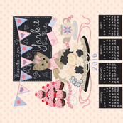 "4 Yorkie Tea Towels 2016 Calendars 4 Matching Designs in a 54x36"" yard"