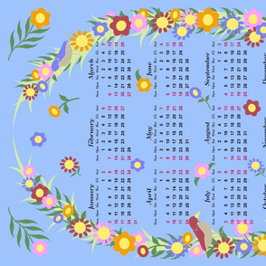 Bright Blue Floral Wreath 2016 Calendar