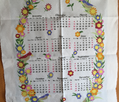 2016 Blue Floral Wreath Calendar