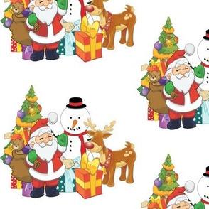 Santa Christmas Tree Snowman and Reindeer