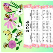 2016 Tea Towel With Flowers, Bees & Butterflies