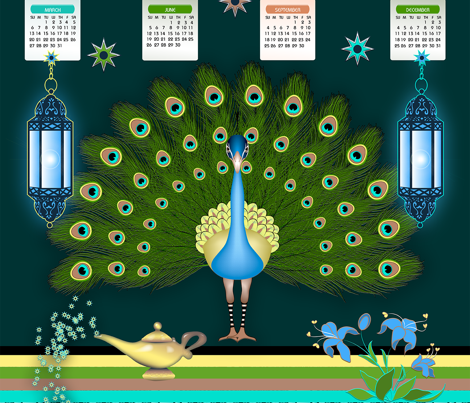 Peacock TeaTowel Calendar 2017