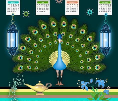 Peacock TeaTowel Calendar 2016