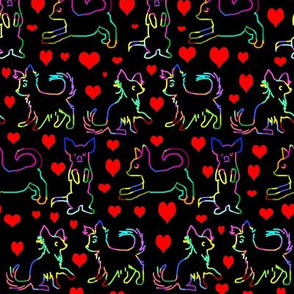 Rainbow Red Heart Scratchboard Chihuahuas
