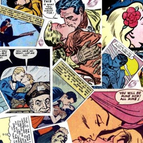 vintage comic book kisses - LARGE PRINT