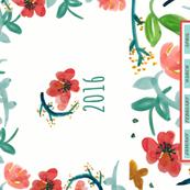 2016 Watercolor Floral Bright Tea Towel