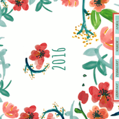 2016 Watercolor Floral Bright Tea Towel