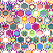 Colorful Oil Pastel Hexagons