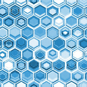 Blue and White Oil Pastel Honeycomb