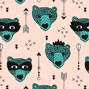 Cool woodland grizzly bears hipster indian arrows and super hero mask illustration for kids in soft nude and aqua blue