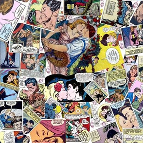 vintage comic book kisses
