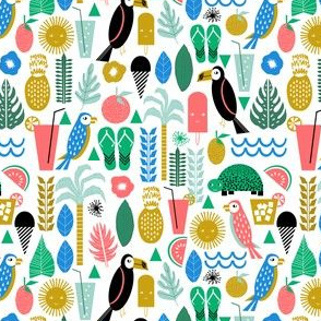 smaller tropical islands - girly fruit trendy pattern toucan bird turtle margarita