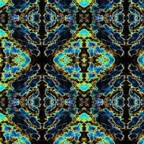 Leaf Damask 1 black-turquoise