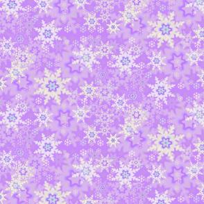 White, Blue & Gray Snowflakes on Purple Pattern