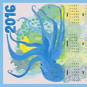 Blue Octopus' Garden Calendar - Vertical