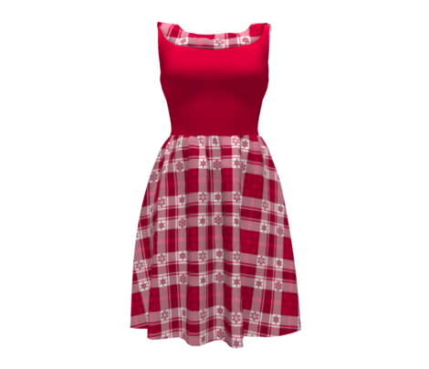 Snowflake Plaid 165 Red