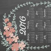 2016 Chalkboard Floral Tea Towel Calender