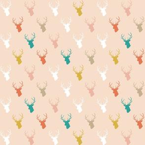 Coral Teal Deer on Blush half scale