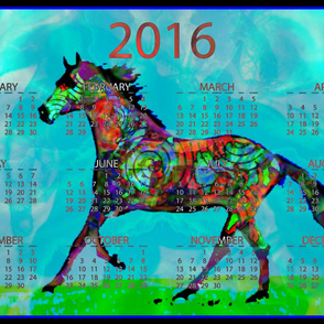 2016 Calendar - To Ride A Celtic Horse, (scaled for pillows)