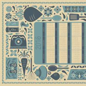 Root Veg 2016 Tea Towel Calendar