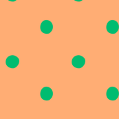 polka dots - green on apricot