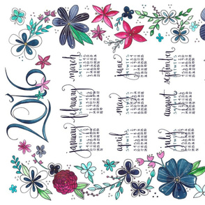 2016 Tea Towel Floral Calendar
