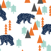 Camping Forest Bear (larger scale) -  Navy, Mint, by Andrea Lauren