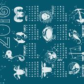 2016 zodiac calendar in cobalt blue