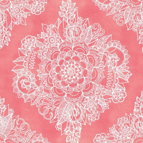 White Floral Moroccan on Coral Pink