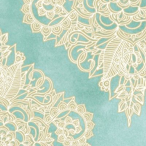 Cream Floral Moroccan on Soft Light Teal