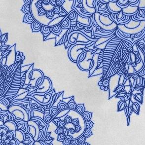 Cobalt Blue Floral Moroccan Doodle on Grey
