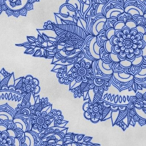 Cobalt Blue Floral Moroccan Doodle on Grey - horizontal