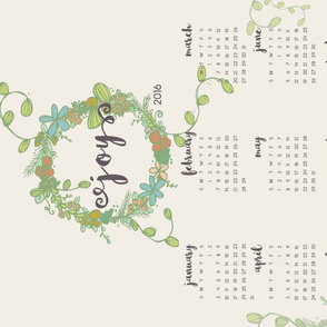 Garland of Joy 2016 Calendar Tea Towel