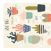 Succulents 2016 Tea Towel Calendar