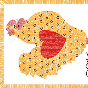 Folksy Chicken Tea Towel Fabric