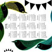 Bright Birds 2016 tea towel calendar