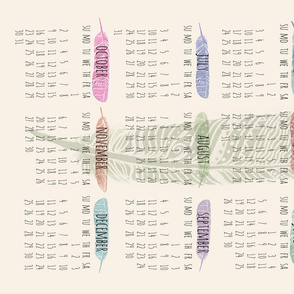 2016 Calendar Watercolor Feathers
