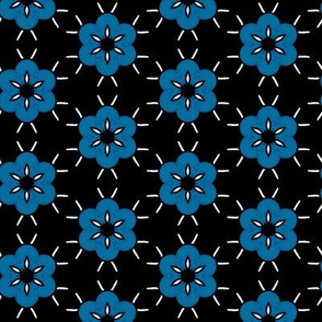 Blue Daisies on Black