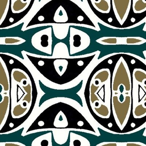 Modern Tribal in Greens, Black and White