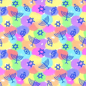 Happy Hanukkah Rainbow Shapes